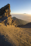 Mt Meru & Kilimanjaro at sunrise. Stock Photo