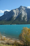 Mt Michener, synclines,  and glacier fed lake Royalty Free Stock Photo