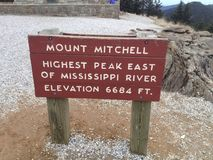 Mt Mitchell tecken Royaltyfri Bild