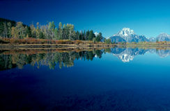 MT.MORAN 1. Reflection of Mt.Moran in lake Stock Photo