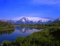 Mt Moran. An Oxbow Bend of the Snake River, Mt. Moran and the Teton Mountain Range, located in Grand Teton National Park, Wyoming Stock Photos