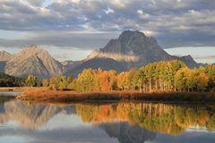 Mt. Moran and Fall Sunrise Royalty Free Stock Images