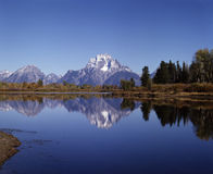 MT.MORAN AND OXBOW BEND. Mt. Moran with reflection in lake Royalty Free Stock Image