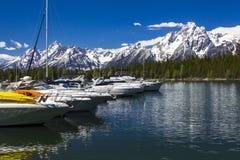 Mt Moran på den storslagna Teton nationalparken, Wyoming Fotografering för Bildbyråer