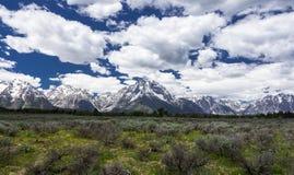 Mt Moran på den storslagna Teton nationalparken, Wyoming Royaltyfri Bild