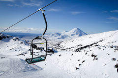 Mt Ngauruhoe från Mt Ruapehu Whakapapa Ski Field New Zealand Fotografering för Bildbyråer