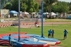 Mt O saco retransmite 2015 a reunião do atletismo, Polo Valut Último para ser guardado no estádio histórico do alojamento de Hilm Foto de Stock