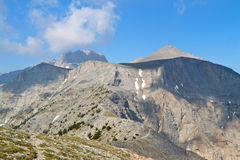 Mt. Olympus in Greece. 'Laimos' passing. Towards the 'Muses' plateau Royalty Free Stock Photos