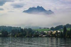 Mt. Pilatus above Luzern lake in Switzerland Royalty Free Stock Photos