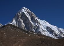 Mt Pumori and Kala Patthar, famous viewpoint for Mt Everest royalty free stock image