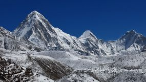 Mt Pumori and other high mountains in Nepal Royalty Free Stock Photo
