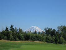 Mt. Rainer. Signature hole -  Hole # 18 Royalty Free Stock Photo