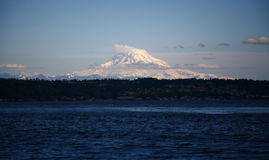 Mt. Rainer and Puget Sound. Mt.Rainer view from the Puget Sound in Washington Royalty Free Stock Photo