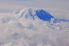Mt. rainier. From the air looking at it in winter time Stock Photo