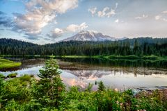 Free Mt Rainier And Reflection Lake At Sunrise Stock Photos - 126749043