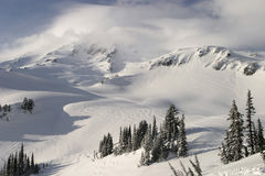 Mt. Rainier In Clouds Stock Photo