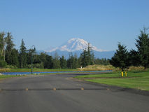 Mt. Rainier, end of the road. View of Mount Rainer from Druids Glen Drive Stock Photos