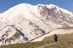 Mt. Rainier Hiker Traverses Burroughs Mountain Stock Photography