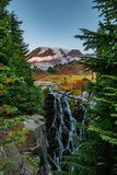 Mt Rainier and Myrtle Falls stock photos