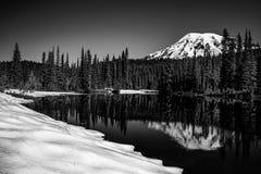 MT Rainier Reflection in de Winter Stock Fotografie