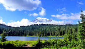 Mt Rainier and Reflection Lake Stock Photos