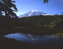 Mt. Rainier & Reflection Lake (H). Horizontal image of mt. Rainier and Reflection lake stock image