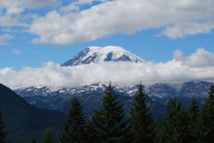 Mt. Rainier in a ring of clouds Royalty Free Stock Photo