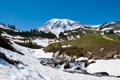Mt. Rainier scenic landscape with cascades Royalty Free Stock Images