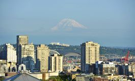 Mt Rainier and Seattle Stock Photo
