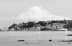 Mt Rainier Sunset Cascade Range Puget Sound North Tacoma Stock Photos
