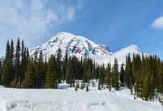 Mt Rainier in Winter Stock Photos