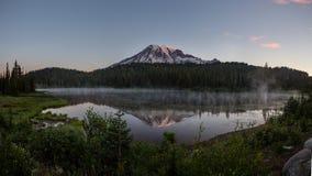Mt regnerischer und Wildflowers bei Reflection See-Sonnenaufgang lizenzfreie stockbilder
