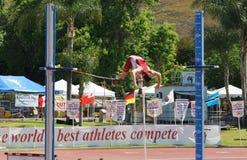 Mt Reunión 2015, poste del atletismo de las retransmisiones del saco Valut Pasado ser celebrado en el estadio histórico de la cas Fotos de archivo