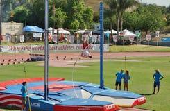 Mt Reunión 2015, poste del atletismo de las retransmisiones del saco Valut Pasado ser celebrado en el estadio histórico de la cas Foto de archivo