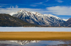 Mt. Rinker from Frozen Twin Lakes. Mt. Rinker and Twin lakes south of Leadville, Colorado Stock Photos
