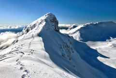 Mt Ruapehu的火山口外缘 库存图片