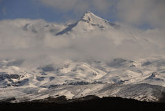 Mt Ruapehu, New Zealand. The snow capped peak of Mount Ruapehue in the central national park of North Island of New Zealand. Taken from the main highway desert Royalty Free Stock Image