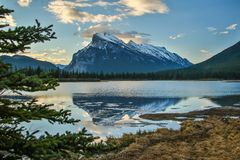 Mt. Rundle in Banff national park over Vermilion lakes. One of the famous pictures of Canadian Rockies, beatiful scenic sunrise place in Banff, mountain nature stock photography