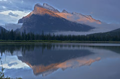 Mt Rundle & Vermillion Lakesjust after sunset, Banff National Pa Stock Images