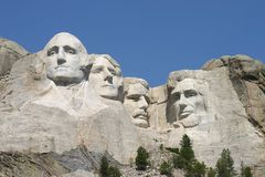 Mt. Rushmore. In August with a beautiful blue sky in the background Royalty Free Stock Photo
