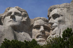 Mt Rushmore. Closeup of Jefferson, Roosevelt, and Lincl=oln at Mt Rushmore Royalty Free Stock Photography