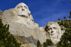 Mt. Rushmore Monument, Washington and Lincoln Royalty Free Stock Photo