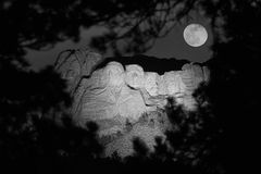 Mt. Rushmore at Night. From overlook in the Black Hills National Forest Royalty Free Stock Image
