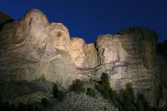 Mt. Rushmore Night. Magic hour at Mt. Rushmore National Monument in South Dakota Stock Photos
