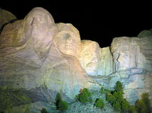 Mt. Rushmore sculpture of presidents by night Royalty Free Stock Images