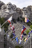 Mt. Rushmore with State Flags in Foreground Royalty Free Stock Photos