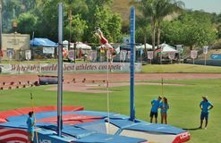 Mt. Sac relays 2015 track and field meet, Pole Valut. Last to be held at historic  Hilmer Lodge Stadium Stock Photos