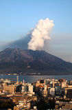 Mt Sakurajima erupts over Kagoshima City Stock Photo