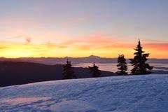 MT Seymour First Pump Peak-de winterzonsopgang, Vancouve Royalty-vrije Stock Foto