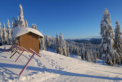 Mt. seymour ski resort with fresh snow Royalty Free Stock Photos